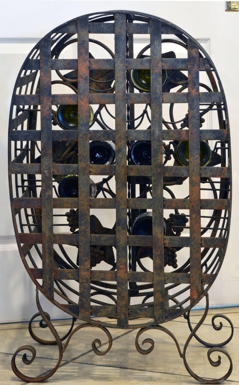 Forged Rare French Grape Vine Themed Wrought Iron Barrel Shape Wine Jail or Cage For Sale