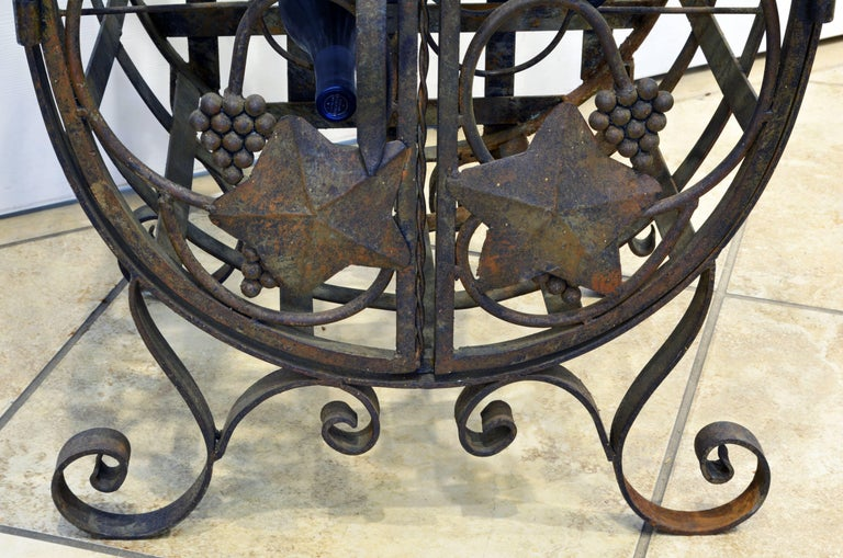 20th Century Rare French Grape Vine Themed Wrought Iron Barrel Shape Wine Jail or Cage For Sale