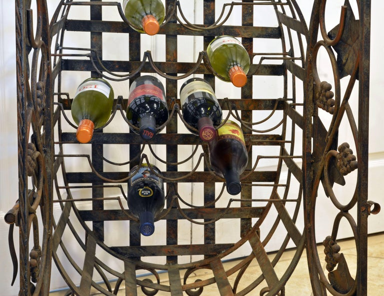 Rare French Grape Vine Themed Wrought Iron Barrel Shape Wine Jail or Cage For Sale 2