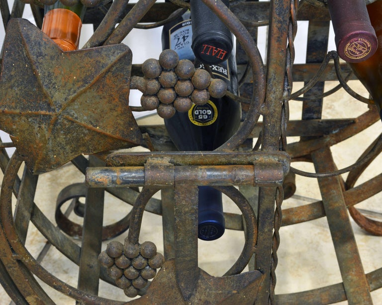 Rare French Grape Vine Themed Wrought Iron Barrel Shape Wine Jail or Cage For Sale 5
