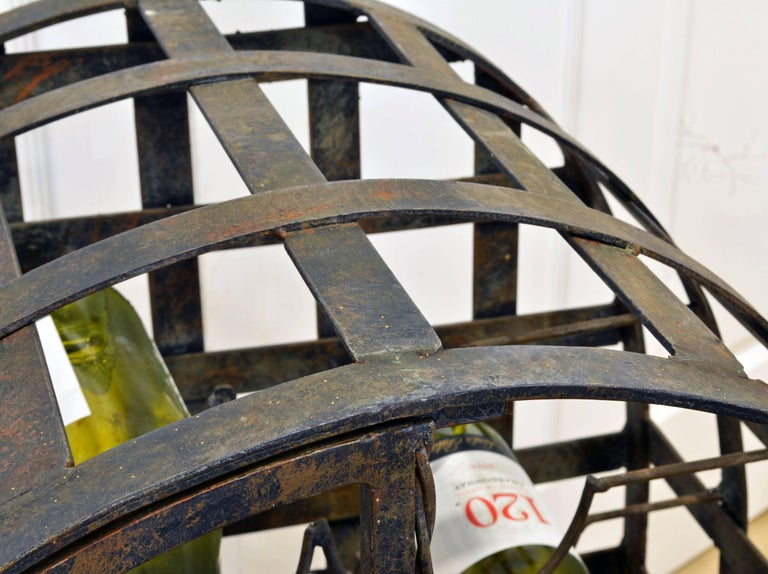 Rare French Grape Vine Themed Wrought Iron Barrel Shape Wine Jail or Cage For Sale 6