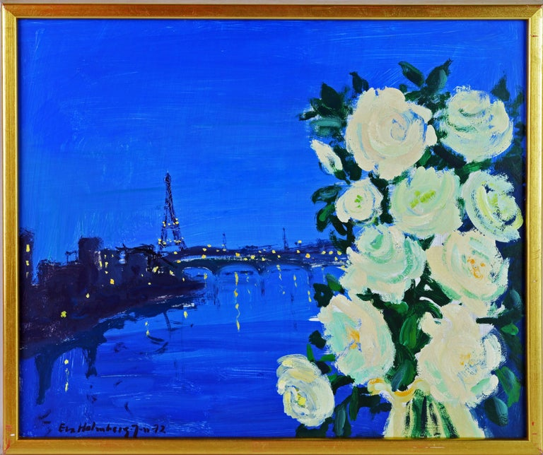 'Paris by Night' By Eva Holmberg Jacobsson, Swedish, 1910-2003. Measure: 13 x 18 in. without frame, 16.25 x 19.25 including frame. Oil on panel, signed and dated (19)72. Housed in an unassuming giltwood frame.  Eva Holmberg Jacobsson: Eva