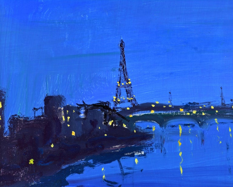 20th Century 'Paris by Night' Poetic Impressionist Gem by Eva Holmberg Jacobsson, Swedish For Sale