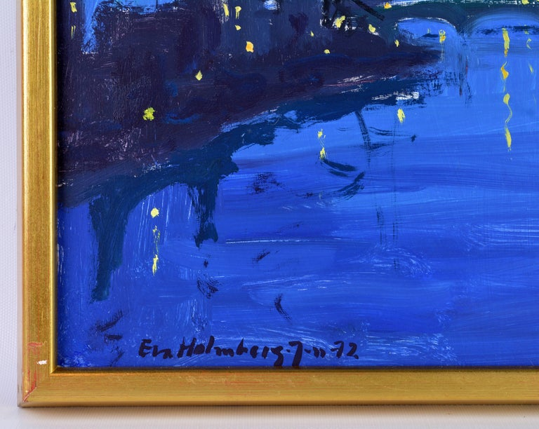 Wood 'Paris by Night' Poetic Impressionist Gem by Eva Holmberg Jacobsson, Swedish For Sale