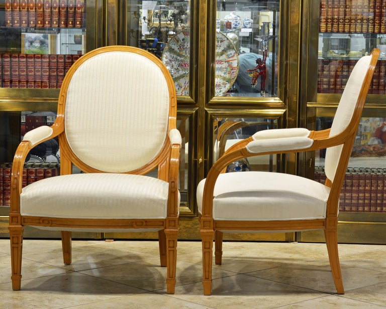 Pair of French Art Deco Era Oval Back Armchairs in the Manner of Andre Arbus In Good Condition For Sale In Ft. Lauderdale, FL