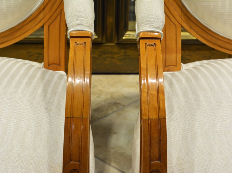 Fabric Pair of French Art Deco Era Oval Back Armchairs in the Manner of Andre Arbus For Sale