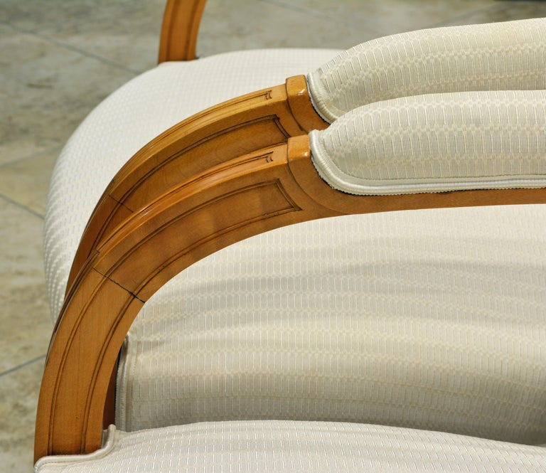 Pair of French Art Deco Era Oval Back Armchairs in the Manner of Andre Arbus For Sale 2