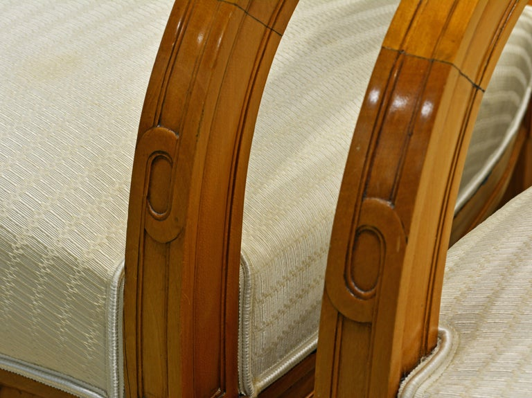 Pair of French Art Deco Era Oval Back Armchairs in the Manner of Andre Arbus For Sale 4