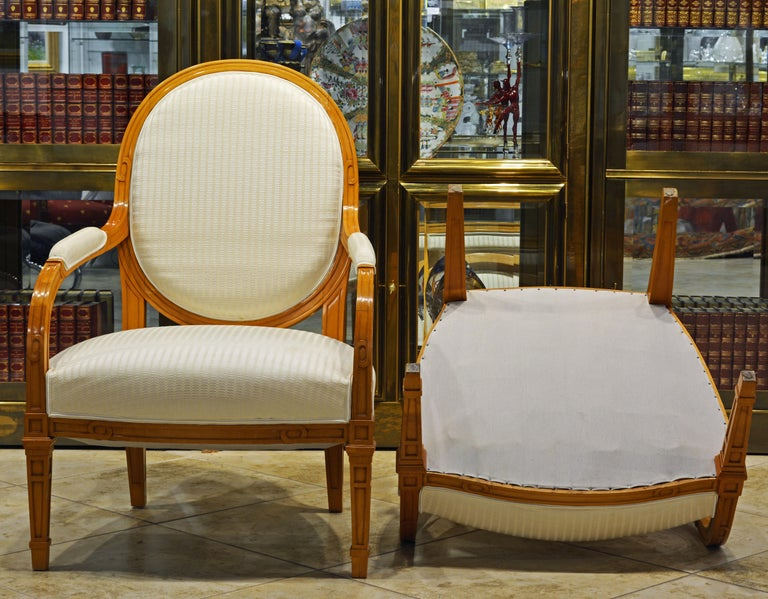 Pair of French Art Deco Era Oval Back Armchairs in the Manner of Andre Arbus For Sale 7