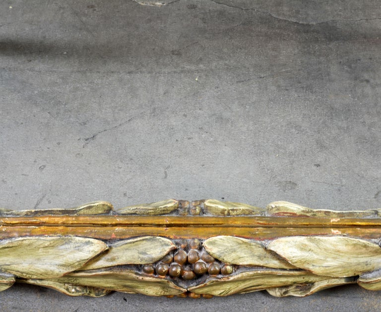 Vintage Carved Mirror by Trouvailles with Beautiful Laurel Leaves and Berries In Good Condition For Sale In Ft. Lauderdale, FL