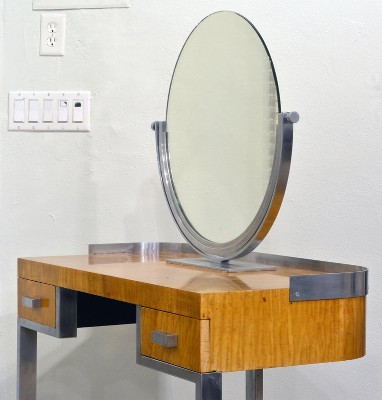 Art Deco Steel and Maple Vanity Desk and Mirror in the Manner of Donald Deskey In Good Condition For Sale In Ft. Lauderdale, FL