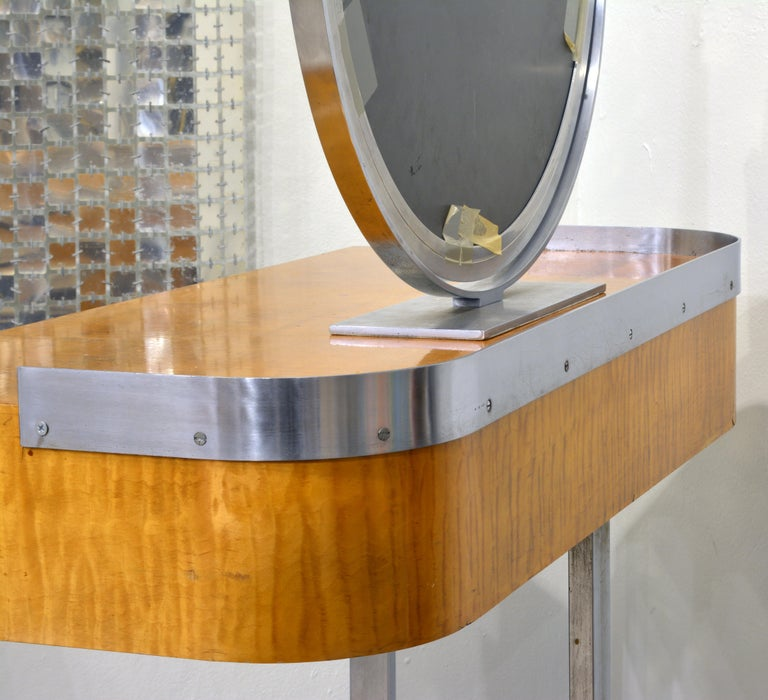 20th Century Art Deco Steel and Maple Vanity Desk and Mirror in the Manner of Donald Deskey For Sale