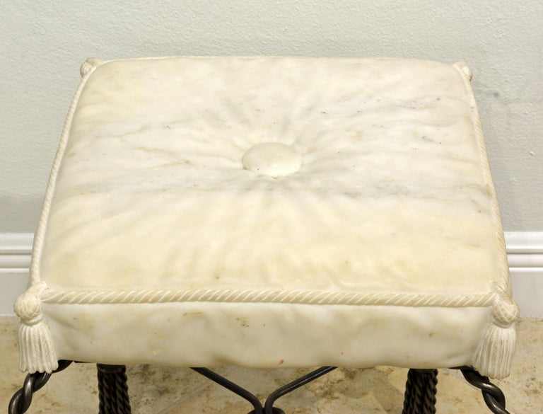 Neoclassical Revival Vintage Italian Rope and Tassel Design Bench with Carved Marble Seat For Sale