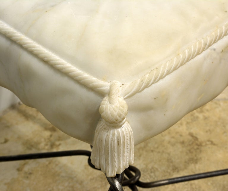 Vintage Italian Rope and Tassel Design Bench with Carved Marble Seat In Good Condition For Sale In Ft. Lauderdale, FL