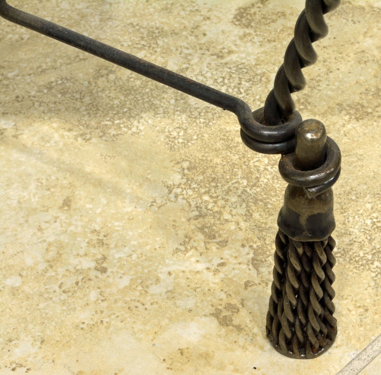 Vintage Italian Rope and Tassel Design Bench with Carved Marble Seat For Sale 1