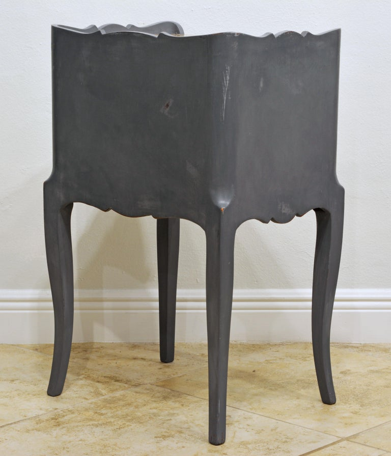 20th Century Antique French Provincial Gray Painted Marble-Top Commode For Sale