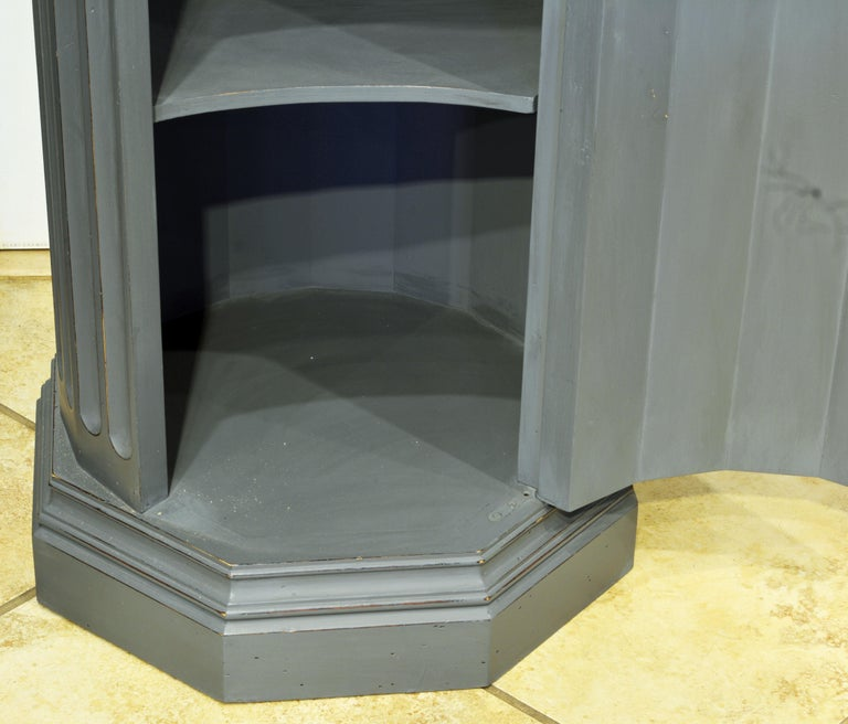 Mahogany 19th Century English Neoclassical Gray Painted Column Pedestal and Cabinet For Sale