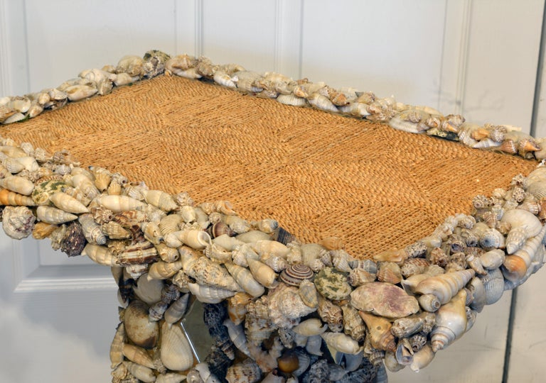 Asian Unique Sea Shell and Mirror Encrusted Raffia Top Accent Table For Sale
