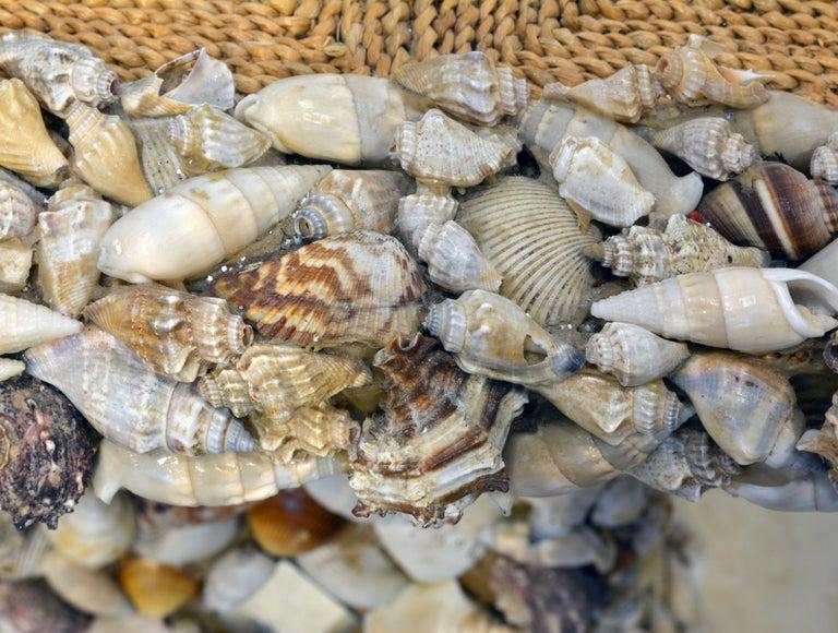 Unique Sea Shell and Mirror Encrusted Raffia Top Accent Table For Sale 5