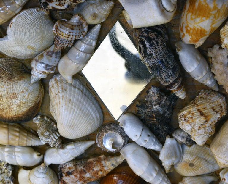 Unique Sea Shell and Mirror Encrusted Raffia Top Accent Table For Sale 6