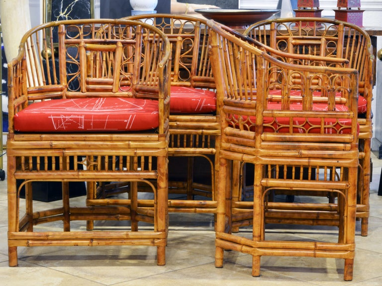 Group of Four Brighton Pavilion Style Chinoiserie Chippendale Bamboo Armchairs In Good Condition For Sale In Ft. Lauderdale, FL
