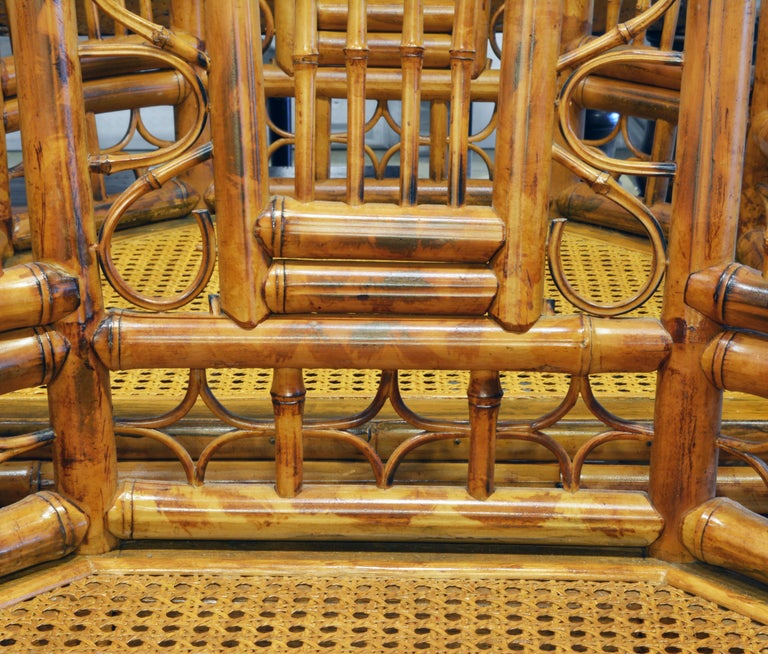 Fabric Group of Four Brighton Pavilion Style Chinoiserie Chippendale Bamboo Armchairs For Sale