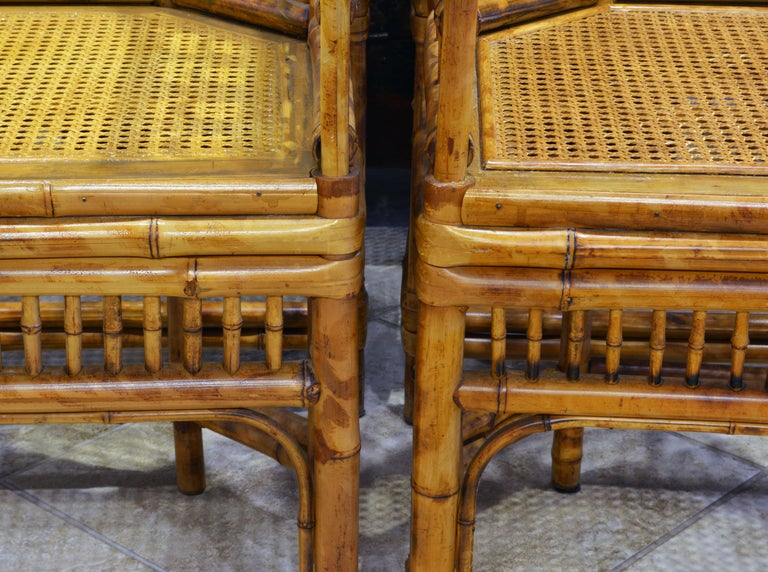 Group of Four Brighton Pavilion Style Chinoiserie Chippendale Bamboo Armchairs For Sale 2