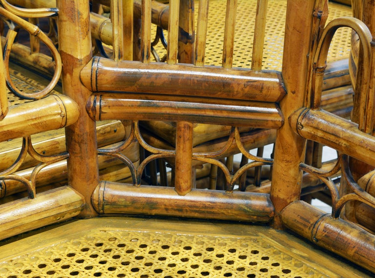 Group of Four Brighton Pavilion Style Chinoiserie Chippendale Bamboo Armchairs For Sale 3