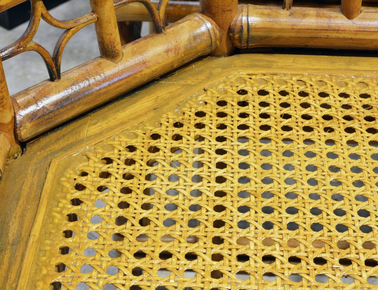 Group of Four Brighton Pavilion Style Chinoiserie Chippendale Bamboo Armchairs For Sale 4