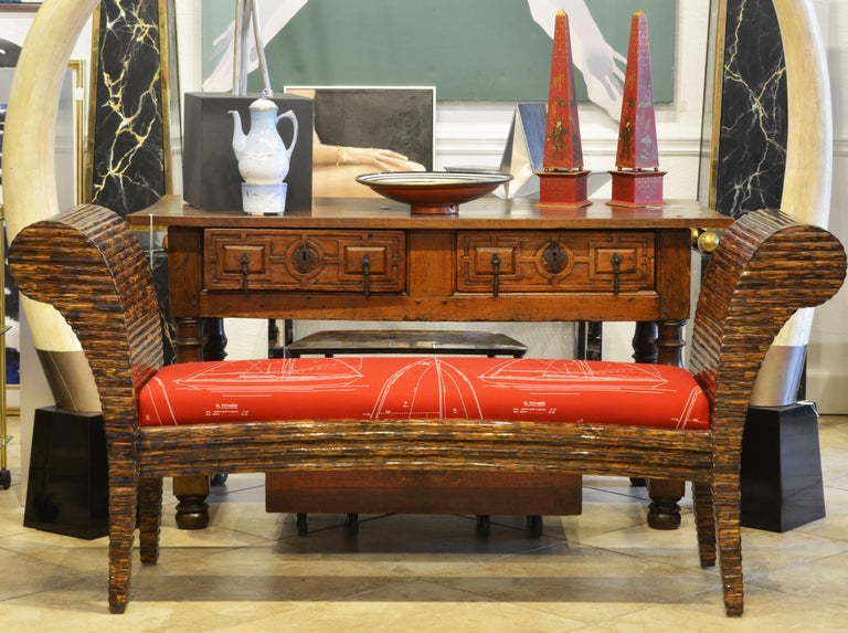 Post-Modern Postmodern Design Tessellated Coconut Palm Wood Bench by Enrique Garcel For Sale