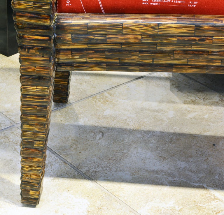 20th Century Postmodern Design Tessellated Coconut Palm Wood Bench by Enrique Garcel For Sale