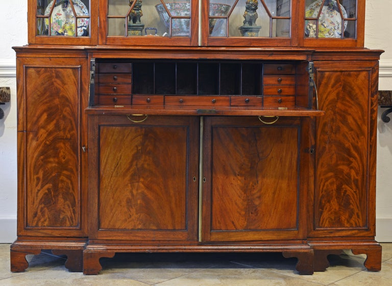 Georgian Noble Early 19th Century George III Mahogany Breakfront Secretary Bookcase For Sale