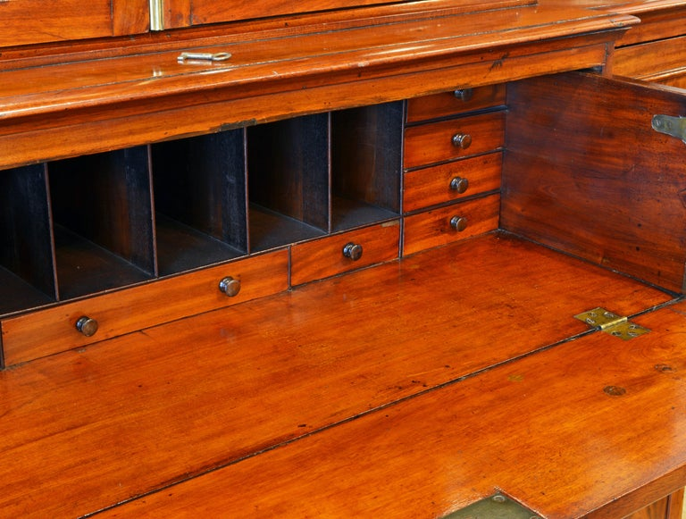 Brass Noble Early 19th Century George III Mahogany Breakfront Secretary Bookcase For Sale