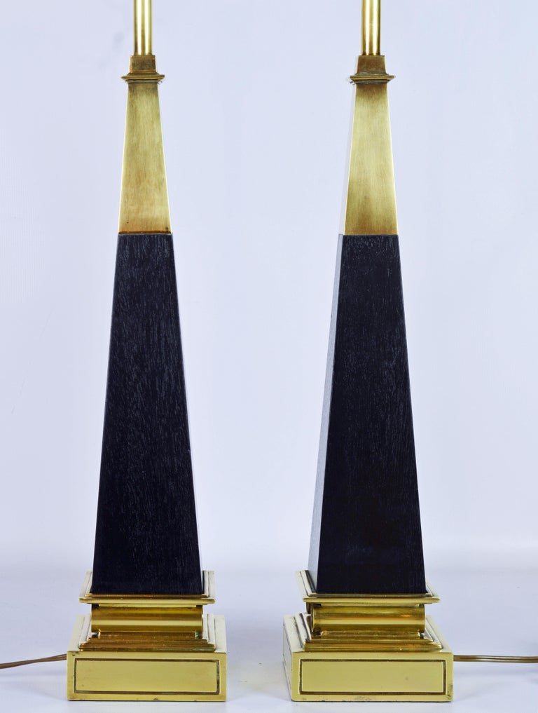 American Pair of Brass and Ebonized Wood Obelisk Lamps by Tommi Parzinger for Stiffel For Sale