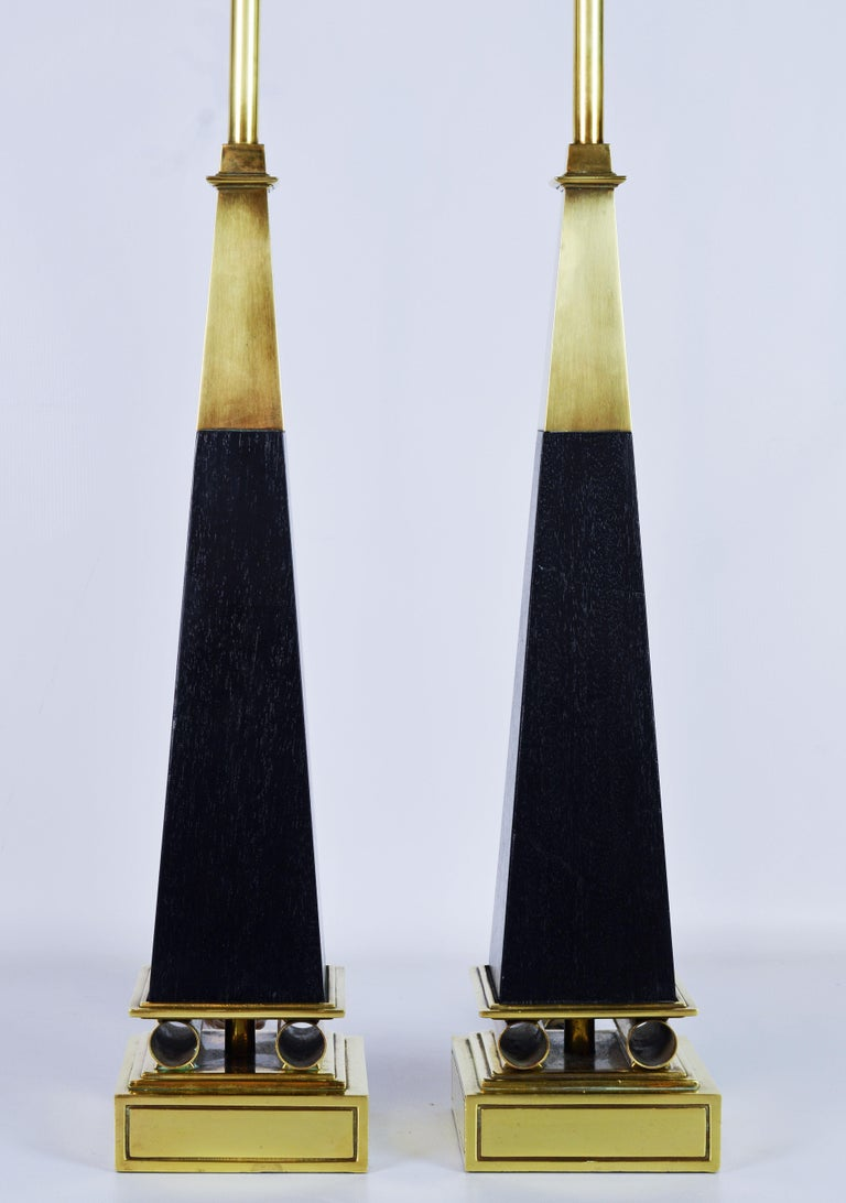Pair of Brass and Ebonized Wood Obelisk Lamps by Tommi Parzinger for Stiffel In Good Condition For Sale In Ft. Lauderdale, FL