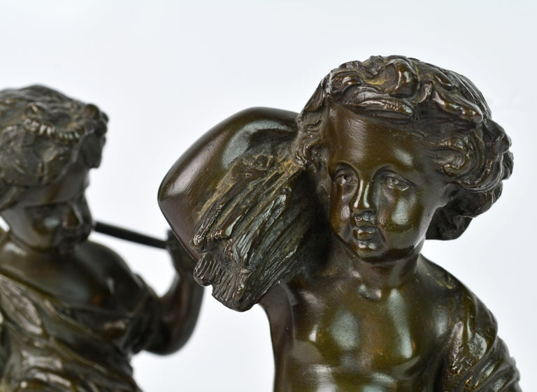 Pair of 19th Century Patinated Bronze Putti as Harvesters on Sienna Marble Bases For Sale 1