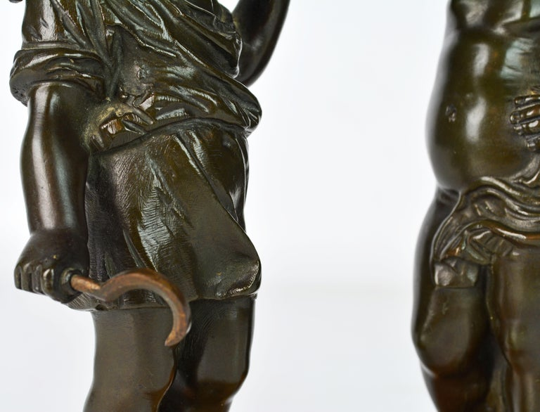 Pair of 19th Century Patinated Bronze Putti as Harvesters on Sienna Marble Bases For Sale 2