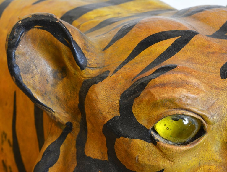 Exotic Huge Anglo Indian Leather Wrapped Sculpture of a Bengal Tiger For Sale 4