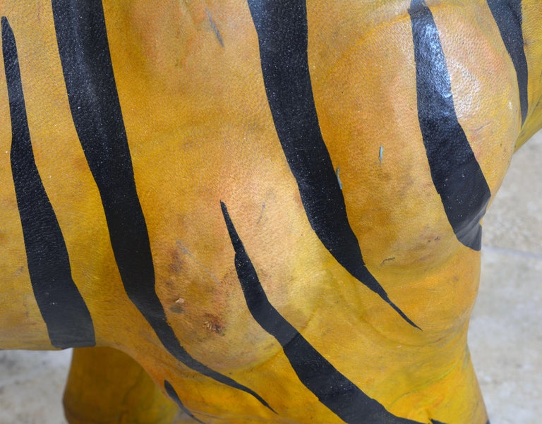 Exotic Huge Anglo Indian Leather Wrapped Sculpture of a Bengal Tiger For Sale 5