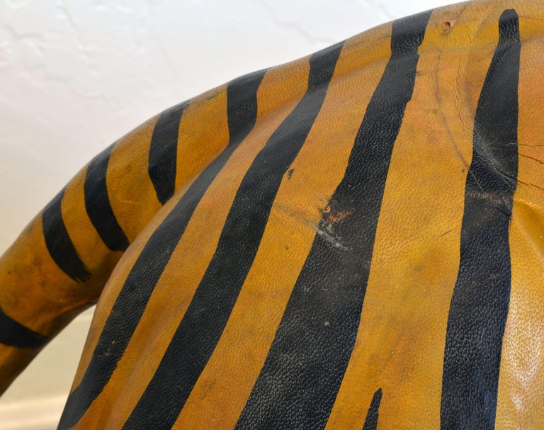 Exotic Huge Anglo Indian Leather Wrapped Sculpture of a Bengal Tiger For Sale 8