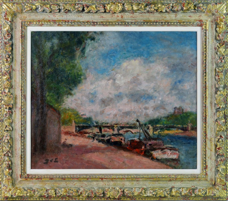 'Along the Seine' By Georges d'Espagnat, French 1870-1950. Measures: 18 x 21.75 in. without frame, 25.5 x 29.25 including frame. Oil on relined canvas, signed in lower left corner. Housed in a newer impressionist style gallery frame.  Georges