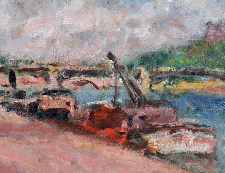 Gilt 'Along the Seine' by Georges d'Espagnat, French Post Impressionist, 1870-1950 For Sale