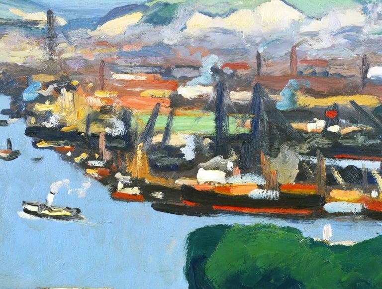 French 'Vue Plongeante sur le Port de Rouen' by Gaston Balande, Spain France, 1880-1971 For Sale