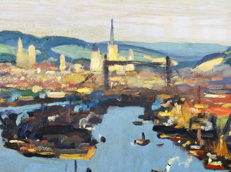 Gilt 'Vue Plongeante sur le Port de Rouen' by Gaston Balande, Spain France, 1880-1971 For Sale