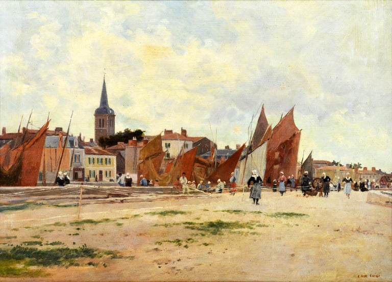 'Harbor Scene, Brittany' By Luigi Loir, Austrian/French 1845-1916. Measures: 15 x 21.5 in. without frame, 23 x 28.5 including frame. Oil on panel. Signed in lower right corner. Housed in a gilt paint antique frame.  Luigi Loir: Luigi Loir was