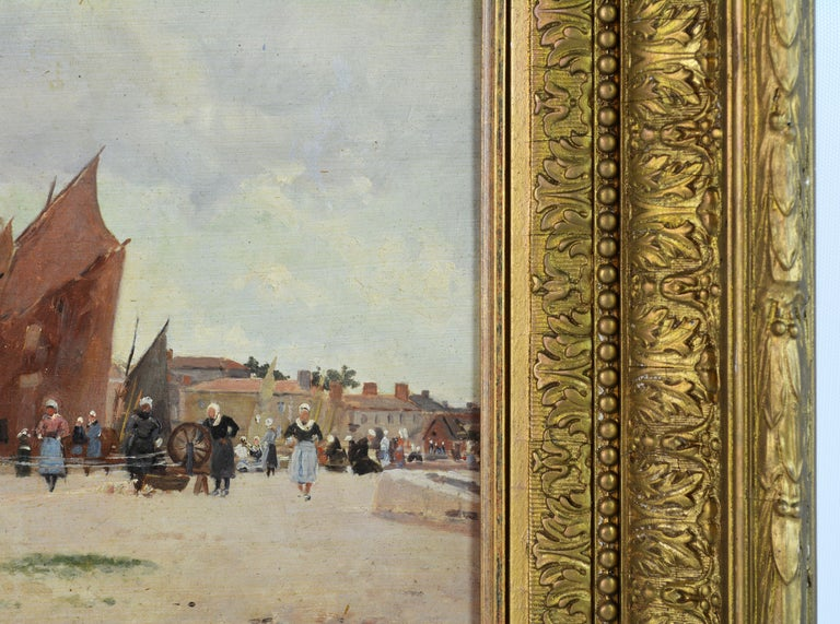 'Harbor Scene, Brittany' by Luigi Loir, Austrian/French Impressionist, 1845-1916 In Good Condition For Sale In Ft. Lauderdale, FL