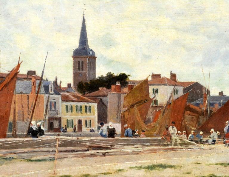 19th Century 'Harbor Scene, Brittany' by Luigi Loir, Austrian/French Impressionist, 1845-1916 For Sale
