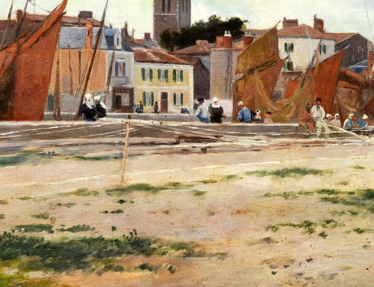 Wood 'Harbor Scene, Brittany' by Luigi Loir, Austrian/French Impressionist, 1845-1916 For Sale