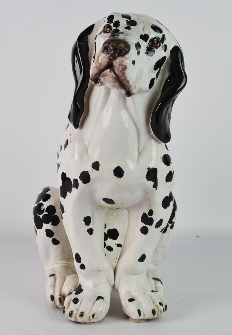 Fetching Italian Midcentury Glazed Terracotta Figure of a Dalmatian Puppy In Good Condition For Sale In Ft. Lauderdale, FL