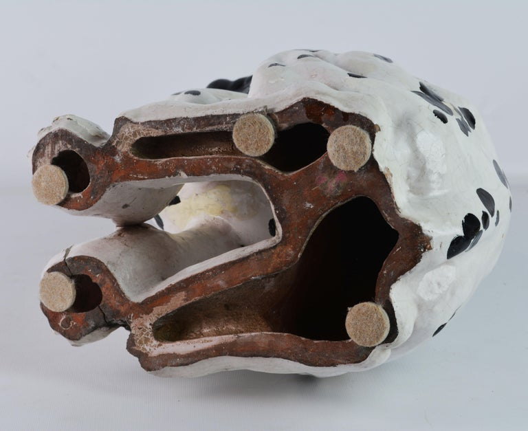 Fetching Italian Midcentury Glazed Terracotta Figure of a Dalmatian Puppy For Sale 11